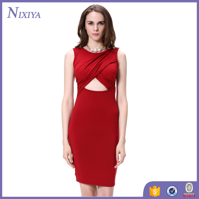 Latest Designs Charming Sexy Sleeveless Red Night Dresses For Women Evening Party Dress