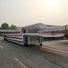 lowboy flatbed tri-axle low bed semi trailer with hydraulic ramps on sale!