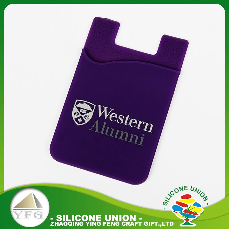 Secure printed logo creative silicone cell phone credit card holder