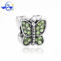 Butterfly Wholesale Charm Crystal European Bead Landing For Bracelet Making CTB023
