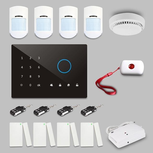GSM/3G intruder and burglar security alarm system with learning code and fixed code accessories