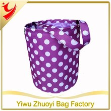 Purple Polka Dot Easter Bucket Shopping Tote Bag