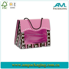 hand length paper cosmetic gift bag with velcro closure
