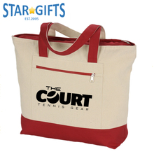 Heavy Duty Canvas Tote Bags Custom Logo Printed Canvas Tote Bag With Outside Pockets