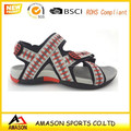 New Design Strappy Mens Sandle Triple Velcro Padded Leather Sandals Brown summer casual sandle beach slippers A801