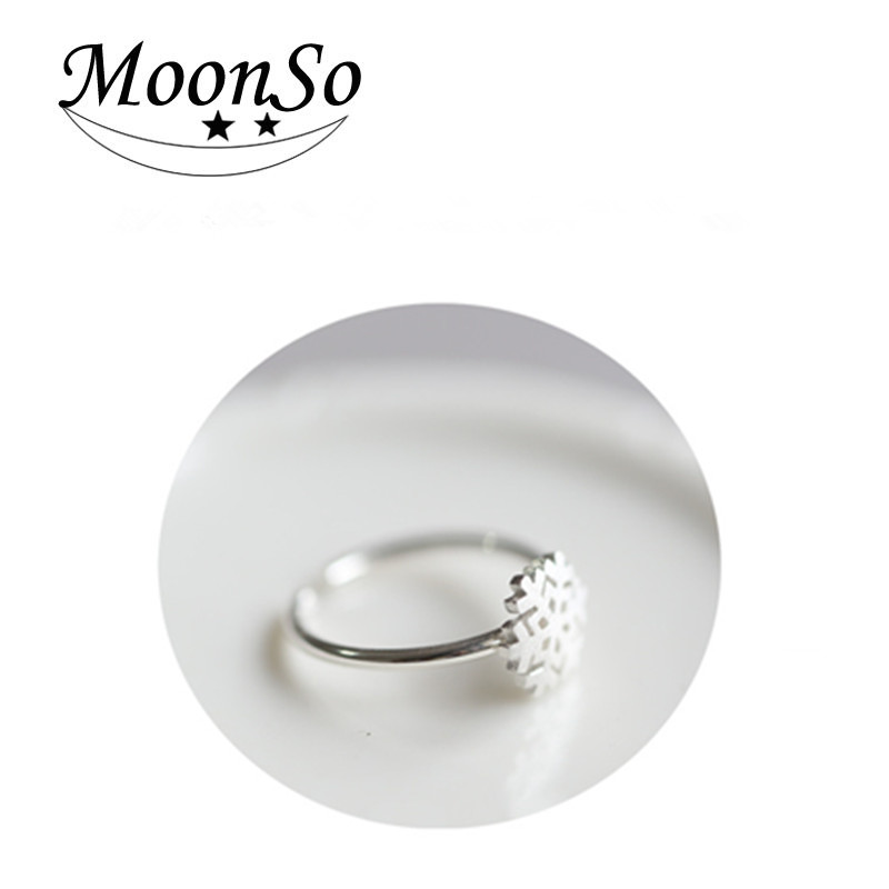 S925 christmas gift silver engagement snowflake silver <strong>ring</strong> for couple Moonso AR4638