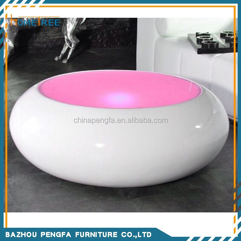 LED round modern coffee table with glass top