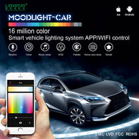 Moodlight-car smart LED interior car light system, mobile APP control LED decoration light kit 12V