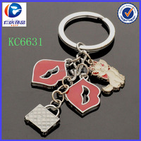 2014 china yiwu jewelry factory wholesale high quality sexy red lips keychain