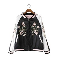 Reversible Waterproof Embroidery Varsity Jacket