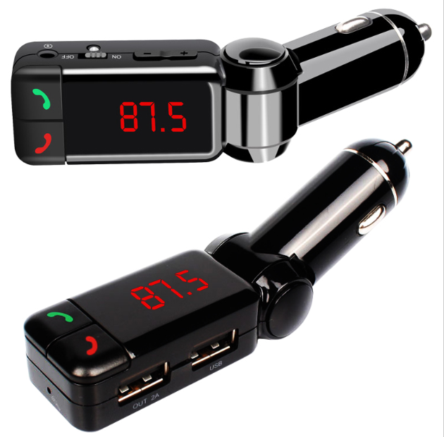 Bluetooth FM Transmitter 5V 2.1A Wireless In-Car FM Transmitter Radio Adapter Car Kit Dual USB Car Charger AUX Input