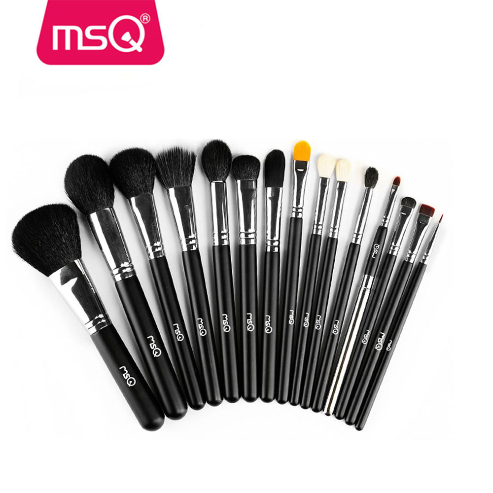 MSQ 15 pcs high quality cosmetics makeup brush kits hot sale makeup brush factory in china