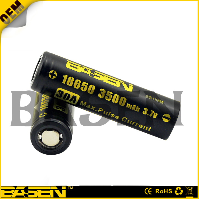Basen BS186M 18650 3500mah full capacity 3.7v lithium-ion rechargeable battery for wholesale 18650 battery