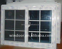 Double pane pvc sliding window with grille design windows/factory cheap price pvc window sliding open