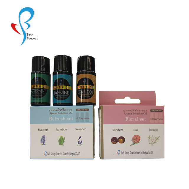 paper box packaging 3pcs pure or compound aroma solution essential oil