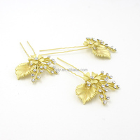 Wedding Beaded Floral Headcomb Jewelry Crystal Rhinestone Wedding Bridal golden leaf Ornamental Hair Combs With Hairpin Clip