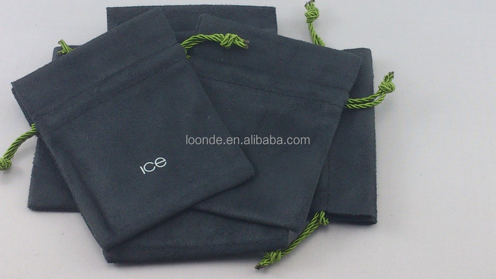 promotional black custom round suede drawstring pouches for jewelry
