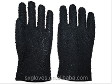 Rubber dots anti-slip PVC glove with single dipped Gauntlet,GSP3223B