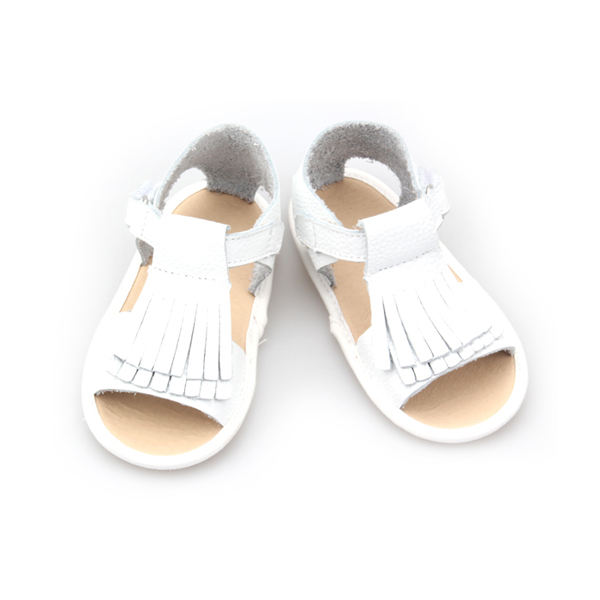 2017 summer shoes leather baby sandals tassel white baby sandals