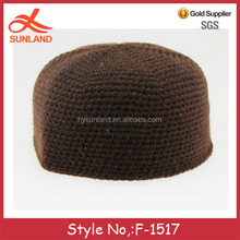 F-1517 new 2016 winter warm chunky knitted turban for men muslim prayer cap