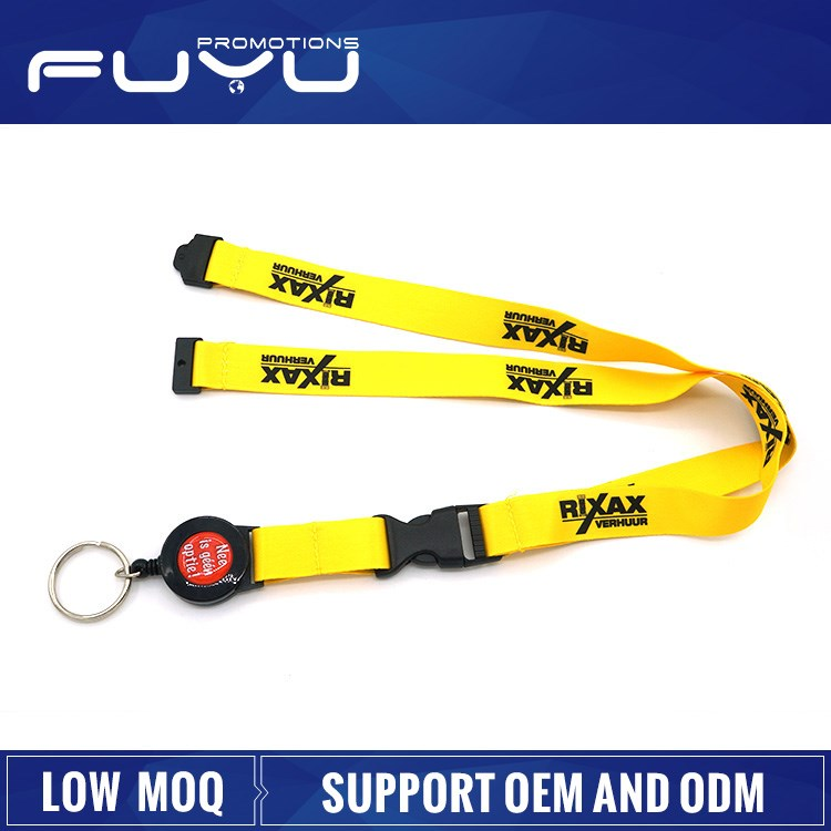 Wholesale polyester retractable fancy OEM popular lanyard neck strap key chain