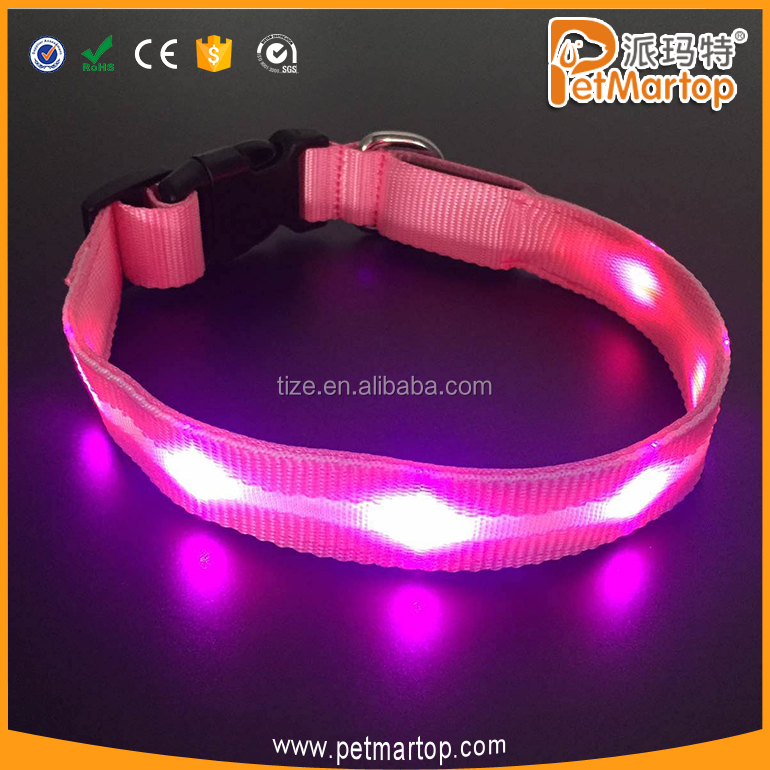 USB Rechargeable LED Flashing Dog Collar with Pink LED light
