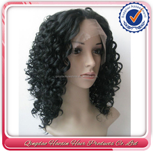 High quality natural color short curly human hair full lace wigs