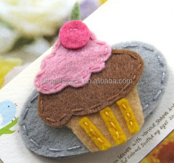 2017 new fashion hot cheap wholesale fabric kids craft ornament embellishment Christmas cake decoration handmade felt hair clips