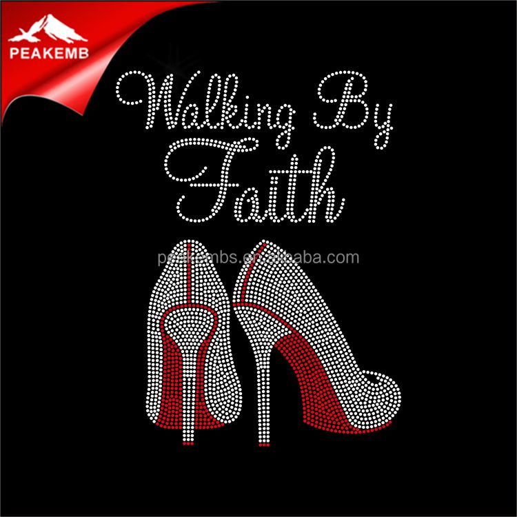 wholesale iron on transfer rhinestone walk by faith for dress