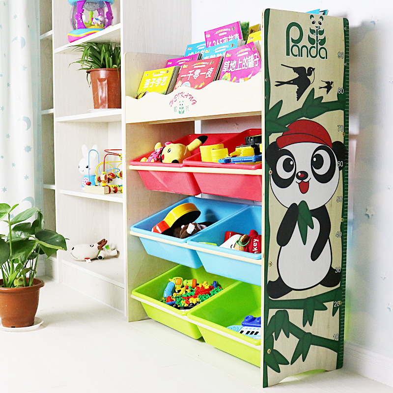 Eeo-friendly wooden China style Panda Cartoon design kids toy storage shelf with plastic collection bin and bookcase for childr