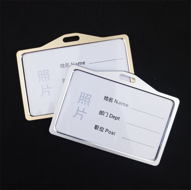 Factory Direct Horizontal Acrylic Cute School Id Card Holder,Custom Employee Double Id Holder With Metal Clip