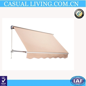 Cream Drop Arm Manual Retractable Window Awning