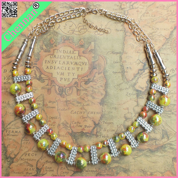 Fashion necklace 2 layers crystal glass beads aroma necklace