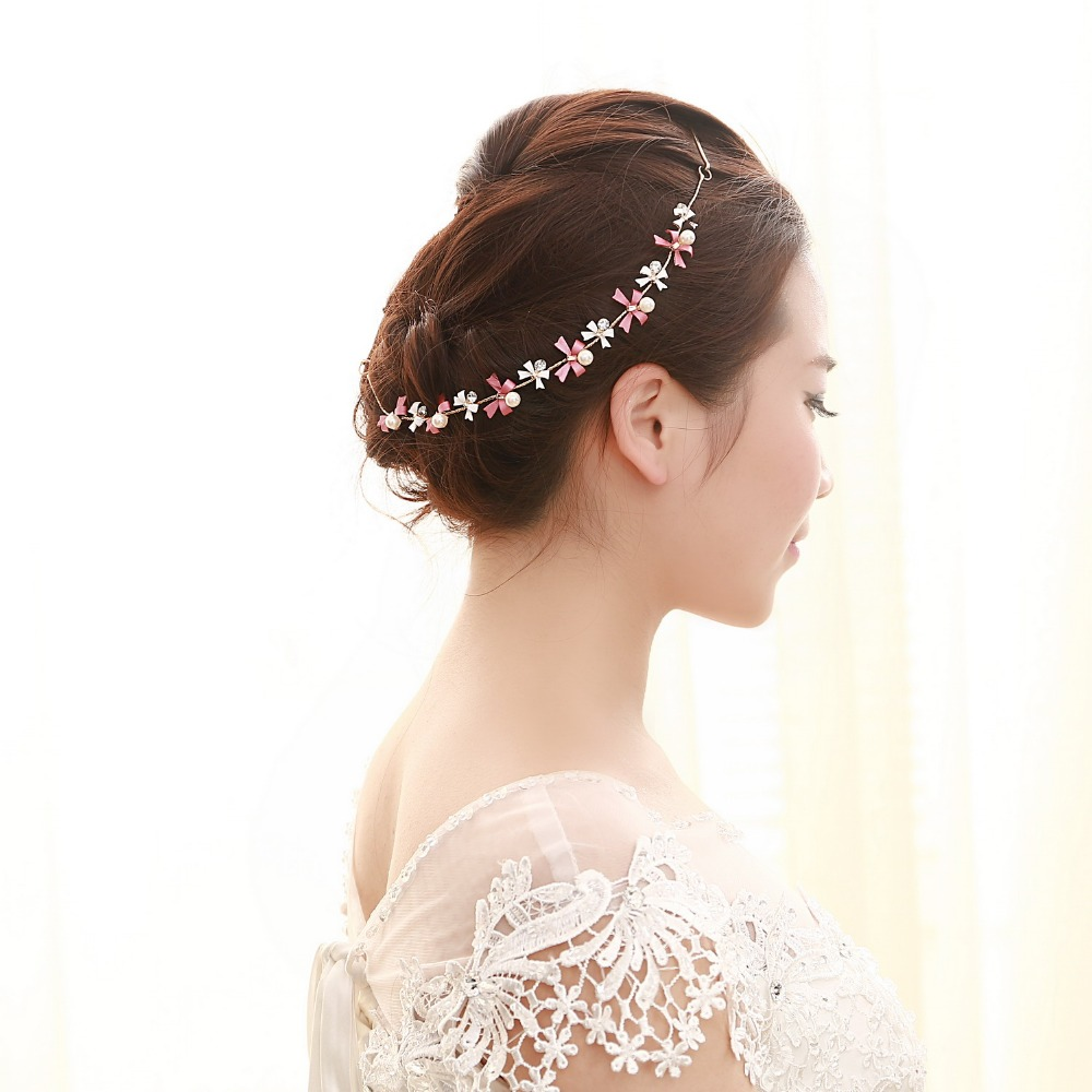 Women Imitation Pearl Crystal Tiara Boho Chic Bridal Head Chain Accessories Hair Jewelry Tie Hairpin Hairband For Wedding Bijoux