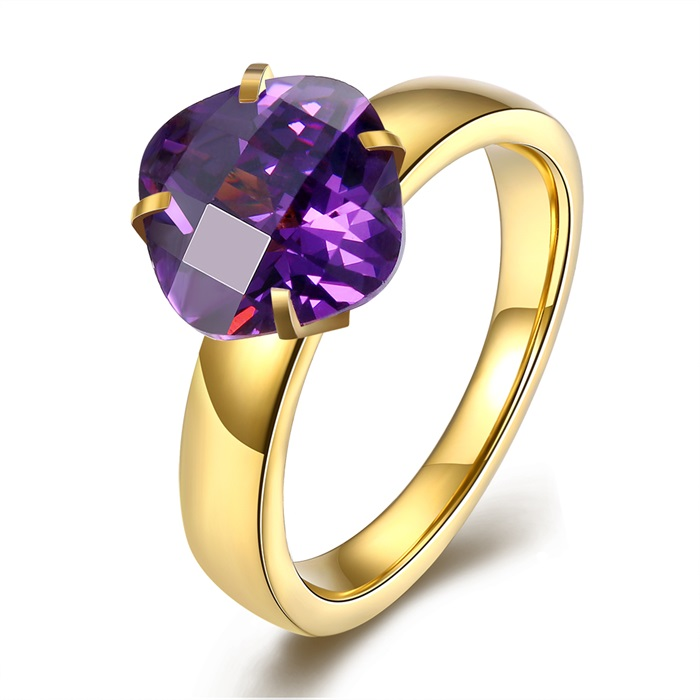 SJTGR174 Latest Designs Fashion Jewelry Gold Plated Titanium Steel Birthstone 7 Color Square CZ Solitaire Stone Rings for Girls