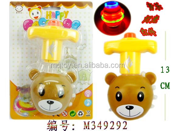 High quality Bear spinning top with music and infrared ray toy peg top promotional toy gift