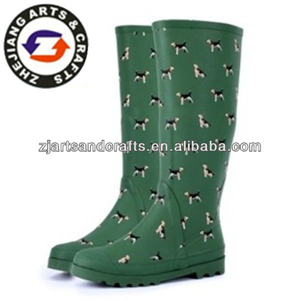 Knee height green with dog print rubber rain boots for ladies