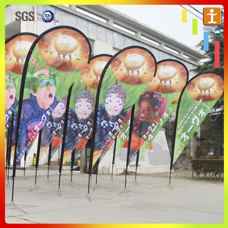 outdoor promotion advertising printing fabric teardrop beach flag
