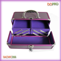 Deluxe OEM purple color aluminum cosmetic makeup case