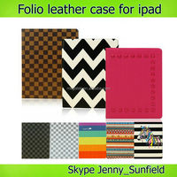 universal color print folio leather case for ipad air mini 2 3 4, for ipad case leather folio ,for ipad air case print