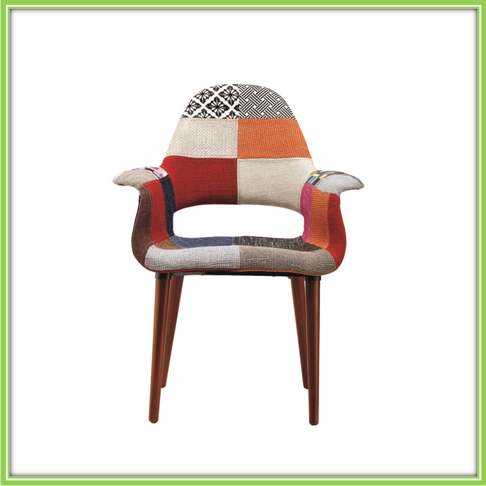 Popular Cloth Seat With Arm Wood Restaurant Chair