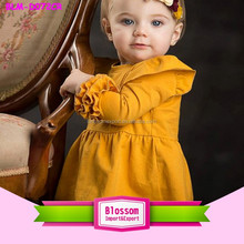 2016 Latest frock and frill dresses puffy sleeve baby cotton frock design cotton one year baby party dresses