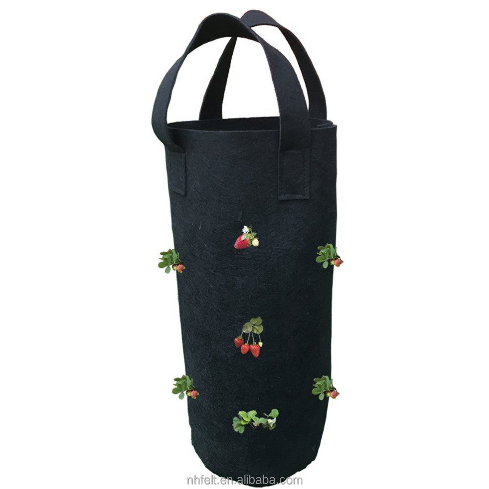 Garden Strawberry Grow Bag Vertical Wall Hanging Felt Planter