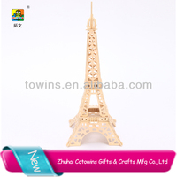 Best selling diy France Eiffel Tower 3d wooden personalized kids Building Puzzle