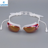 Advanced design for Race swim goggles with Ear plugs Clear wide vision swim goggle