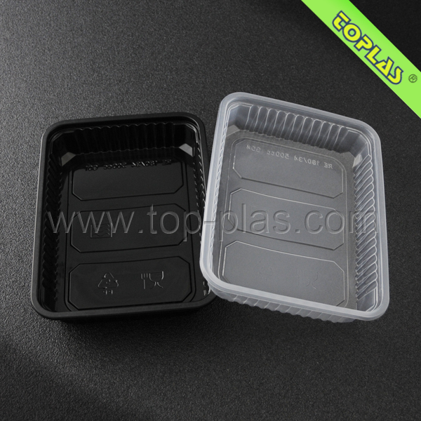 500ml Square Plastic Food Containers Disposable Oven Safe Food Container