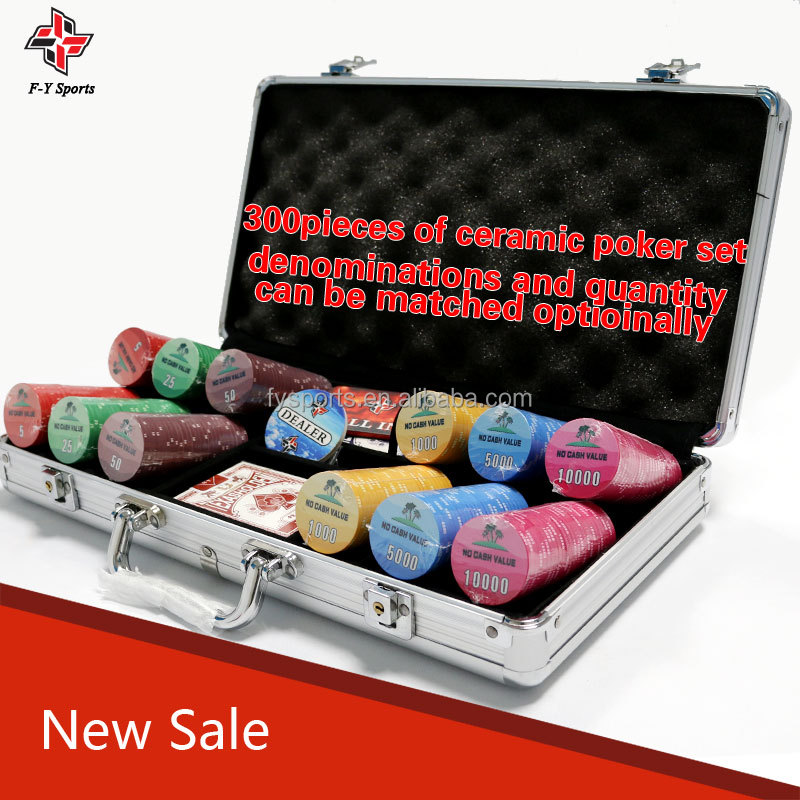 300pieces and 500pieces antique ceramic poker chip set with customzied logo
