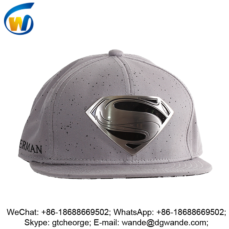 new custom brush cap/hat superman metal plate logo