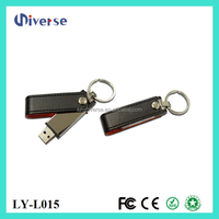 Premium Black Leather/Orange Trim Swivel leather USB Flash Drive(Stick/Pen/Thumb) 16GB