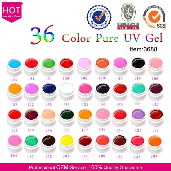 # 3688U-J Chaude Vente GDCOCO Usine En Gros Solide Couleur Soak off UV Gel Système, Nail Art UV Gel Polish Kit, CANNI Usine Fournir